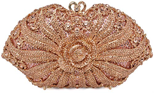 Luxury Crystal Clutch for Women 3D Flower Rhinestone Evening Bag (Champagne)