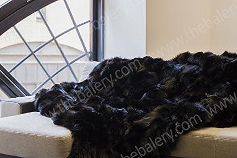 Luxury Fox Real Fur Throw King Size Furry Rug Bedspread Genuine Fur Blanket (King) (Fox Fur Rug)