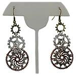 Women's Steampunk Earrings for sensitive ears | Triple Clock Wheel Gear Mixed Tone 7