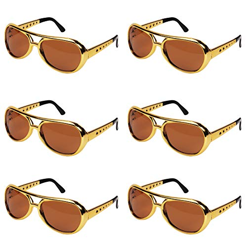 Ocean Line Elvis Glasses - 50's Rockstar Aviator Sunglasses, Funny Party Costume Shades for Celebrity (6 Pairs)]()