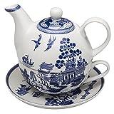 Grace Teaware Porcelain 4-Piece Tea For One (Blue Willow)