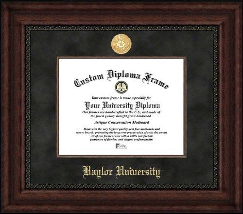 Laminated Visuals Baylor University Bears - Gold Medallion - Suede Mat - Mahogany - Diploma Frame