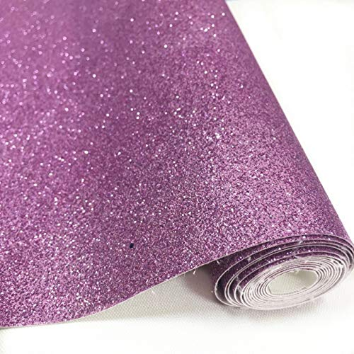 """ZAIONE 10"""" x 53"""" (25cm x 135cm) Roll Sparkly Superfine Glitter Vinyl Fabric Fine Glitter PU Leather Canvas Back Material for Shoes Bag Sewing Patchwork DIY Bow Craft Applique(Lilac Purple)"""
