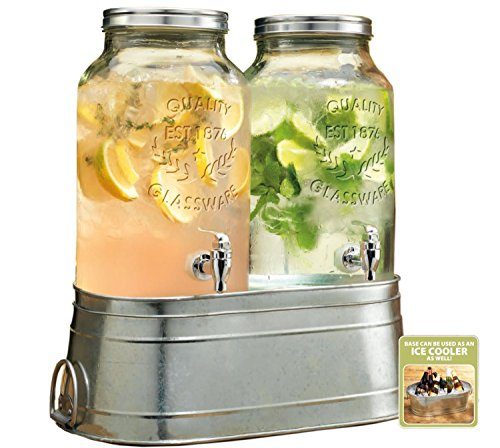 Two (2) 1.5 Gallon Each Quality Ice Cold Clear Glass Jug Dispensers with Galvanized Metal Display Stand/ice Bucket.