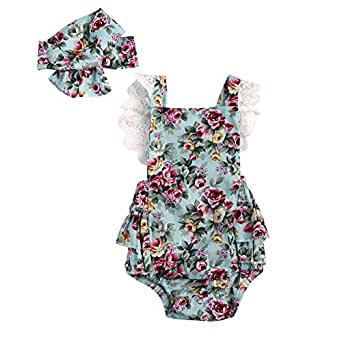 Emmababy Baby Girls' 2Pcs Rompers Lace Dress Backless Jumpsuit with Headband 0-6 Months Floral