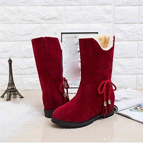 OverDose Frauen Schnee Stiefel Winter Stiefeletten Frauen Schuhe Fersen Winter Stiefel Mode Schuhe B-Red