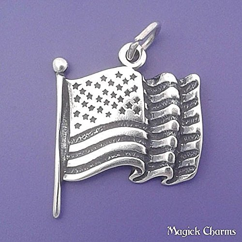 - 925 Sterling Silver American Flag Charm United States of America USA Jewelry Making Supply, Pendant, Charms, Bracelet, DIY Crafting by Wholesale Charms