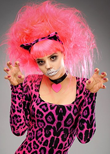 Womens Backcombed Neon Pink Cheshire Cat Wig