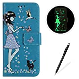 MAGQI Galaxy S3 Case Luminous PU Leather Cases, Bookstyle Flip Wallet Cover Free Stylus Card Holder Girl Flower Butterfly Pattern Full Body Protective Shell for Samsung Galaxy S3 S III I9300 GS3
