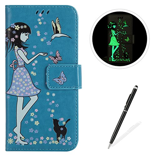 MAGQI LG X Power Case Luminous PU Leather Cases, Bookstyle Flip Wallet Cover Free Stylus Card Holder Girl Flower Butterfly Pattern Full Body Protective Shell - Blue