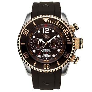 V.I.P. Time 5026BR - Reloj de caballero de cuarzo, correa de goma color marrón (con cronómetro)