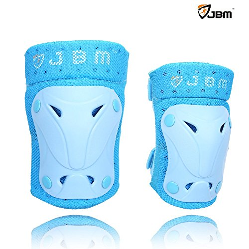 JBM Protective Gear Knee and Elbow Pads Support Guards for Multiple Sports Protection Safety Gear Equipment – Skate & Skateboarding, BMX Biking, Rollerblade, Scooter, Cycling ( 3 Color Options )