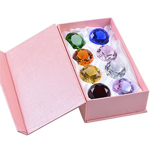 "F-ber Multi Color 40mm (1.6"") Crystal Faceted Diamond Paperweight Wedding Favor Home Decor (Multi Color 8pcs)"