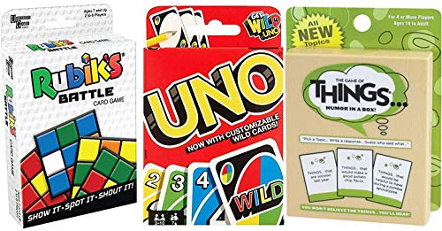 Funny Battle Things Match Game Go Uno Wild Cards + Rubik Cube Battle Shout & Humor in a Box Combo Deck Fun time -
