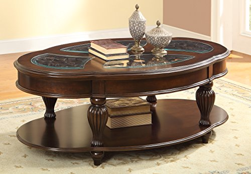 HOMES: Inside + Out ioHOMES Elnas Glass Top with Design Coffee Table, Dark Cherry