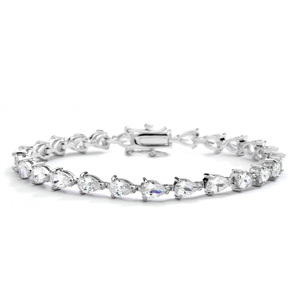 Mariell Luxurious Pear-Shaped Cubic Zirconia Tennis Bracelet - Genuine Platinum Plated Bridal Jewelry 685B