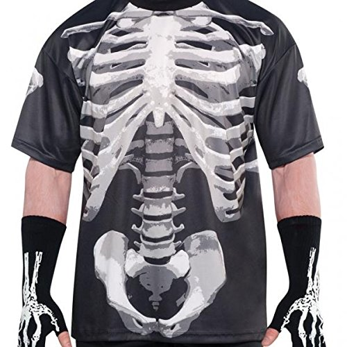 AMSCAN Skeleton Black & Bone T-shirt Halloween Costume for Adults, One Size ()