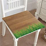 Mikihome Memory Foam Chair Pads Antique Old Planks American Style Western Rustic Wooden with Thick Growth of Grass Cushion Perfect Indoor/Outdoor 32''x32''x2pcs