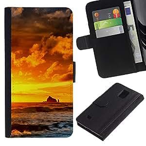 LECELL--Cuero de la tarjeta la carpeta del tirón Smartphone Slots Protección Holder For Samsung Galaxy Note 4 IV -- Sunset Rocks --