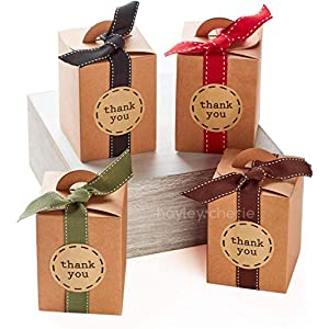 Best Epic Trends 51eMCThov1L._SS300_ Hayley Cherie - Gift Rustic Treat Boxes with Ribbons and Thank You Stickers (20 Pack) - 4.7 x 3.5 x 3.5 inches - Thick…