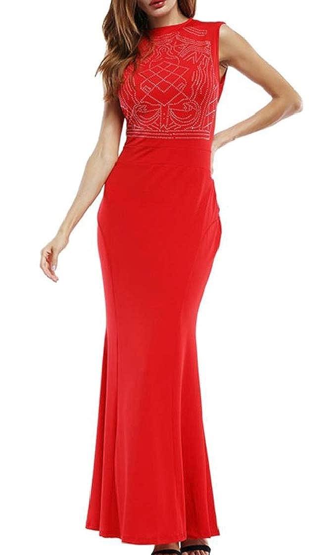 Pandapang Womens Fishtail Sleeveless Bodycon Elegance Prom Party Long Dress