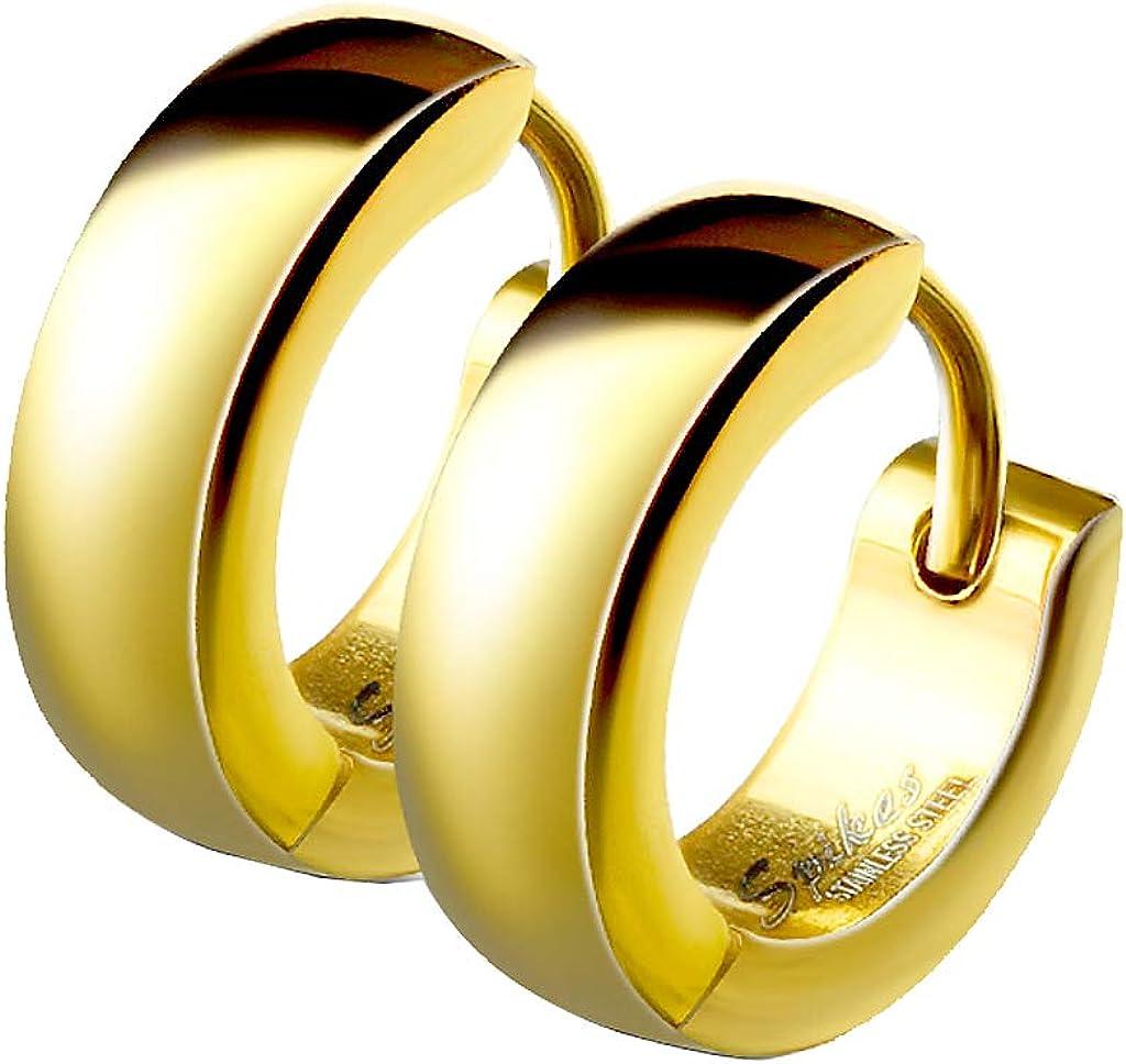 or rose or Mianova Boucles doreilles cr/éoles classiques avec fermeture /à rabat en argent noir ou multicolore