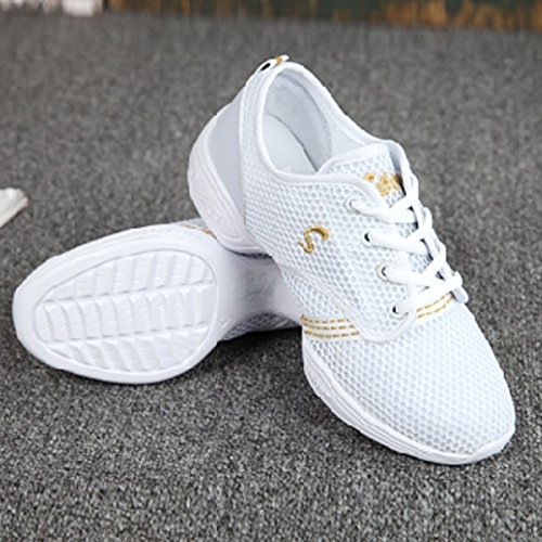 Talon Chaussure Blanc Femme Sneakers Jazz Semelle Chnhira Danse De Respirant Souple Gros Maille qwFnxTAXf