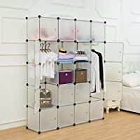 Unicoo - Multi Use DIY Plastic 20 Cube Organizer, Bookcase, Storage Cabinet, Wardrobe Closet with White Door