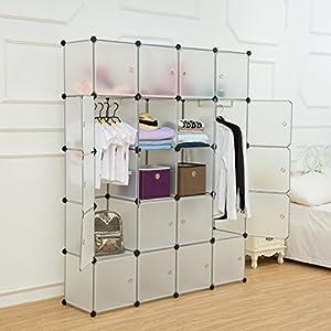 Unicoo - Multi Use DIY Plastic 20 Cube Organizer, Bookcase, Storage Cabinet, Wardrobe Closet with White Door