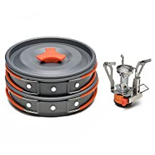 ODOLAND Camping Cookware Kit with Mini Camping Stove - Best 1-2 Person Pot Pan Kit for Outdoor Backpacking Gear & Hiking Cooking Equipment