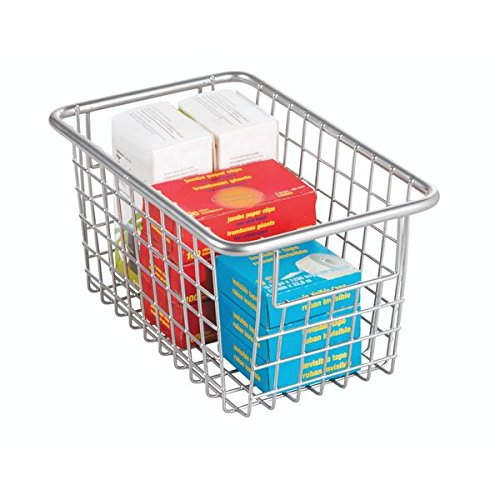 mDesign Office Wire Storage Basket with Handles for Supplies, Notepads - Silver