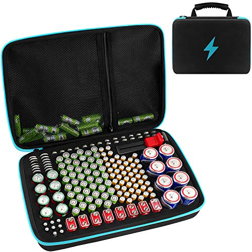 Battery Organizer Storage Box with Battery Tester (BT168), Case Bag Holder fits for 220+ Batteries AA AAA AAAA 9V C D Lithium 3V LR44 1.5V(Not Includes Batteries)(Blue)