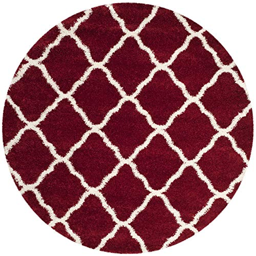 Safavieh Hudson Shag Collection SGH283R Red and Ivory Moroccan Geometric Round Area Rug (7' ()