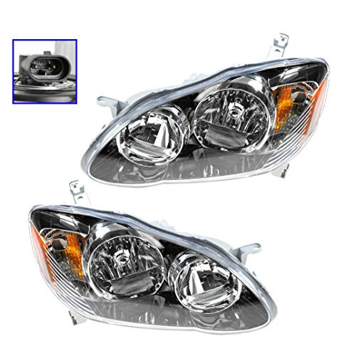 Headlights Headlamps Left & Right Pair Set for 04-08 Toyota Corolla S/XR/XRS