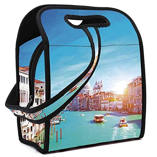 ne Lunch Bag,Grand Canal and The Salute Basilica on Sunny Day Touristic Destination for Lunch Trip Travel Work,Square(8.5''L x 5.5''W x 11''H) ()