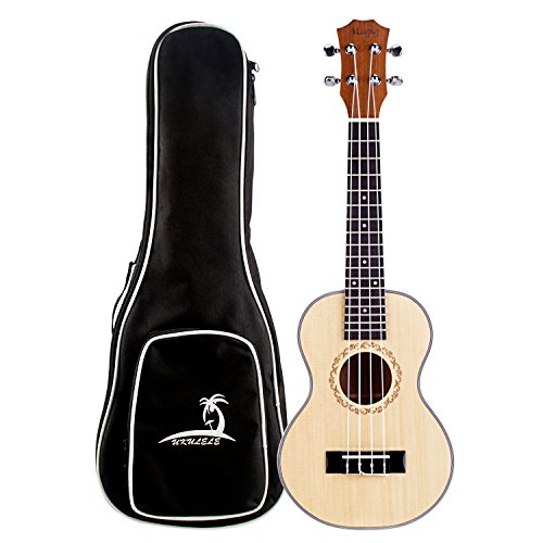 "Mugig Ukulele Concert Uke 4 Strings Spruce Top Panel Rosewood Fretboard Instrument with Black Bag for Beginners and Advanced (Concert 23"")"