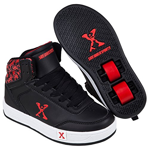 Sidewalk Deporte Ninos Hi Top Junior Chico Skate Zapatos Zapatillas Calzado Black/Red