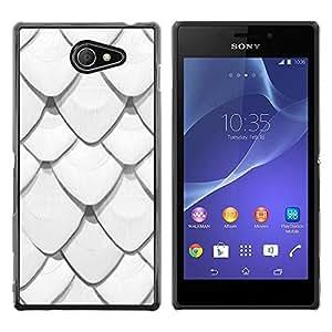 Be Good Phone Accessory // Dura Cáscara cubierta Protectora Caso Carcasa Funda de Protección para Sony Xperia M2 // Scale Pattern Roof Minimalist Fish