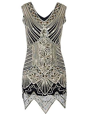 Whoinshop Women Sleeveless V-neck Sequin Classical Vintage Gatsby Mini Flapper Dress