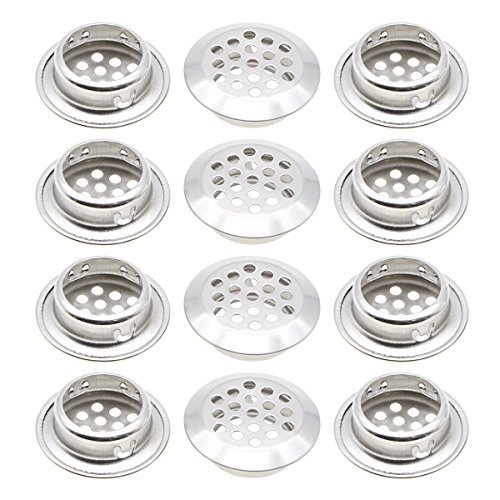 Stainless Steel Air Vent Louver, Saim 25mm Bottom Diameter Slope Round Perforated Mesh Cabine Cupboard Hole Air Vent Cover Louver for Kitchen, Cupboards, Garderobe, 12 ()