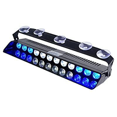 WOWTOU Emergency Light Blue White, 16 Flashing Modes 12W Bright LED Strobe Lighting for Volunteer Firefighter Vehicle Dash Deck Windshield: Automotive