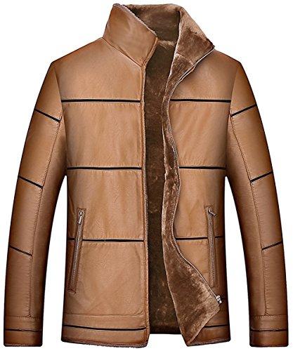 Parka Thicker Leather Warm Fleece Men's JIINN Khaki Fur Coat Top Uk8015 Outdoor Fashion Jacket Faux Winter FtRPtgqwT