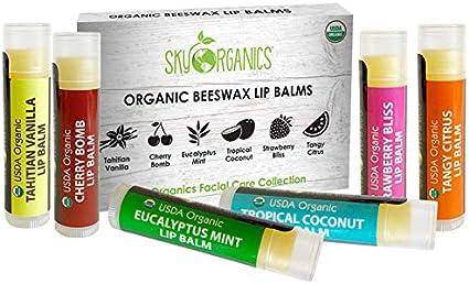 Sky Organics USDA Organic Bálsamo labial 6 Pack surtido de sabores - con cera de abeja, aceite