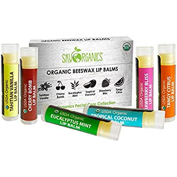 USDA Organic Lip Balm by Sky Organics - 6 Pack Assorted Flavors - With Beeswax, Coconut Oil, Vitamin E. Best Lip Butter Chapstick for Dry Lips- For Adults and Kids Lip Repair (Variety Pack of 6)