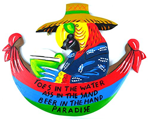 Hammock Parrot Head Toes in the Water As in the Sand Tiki Bar Sign
