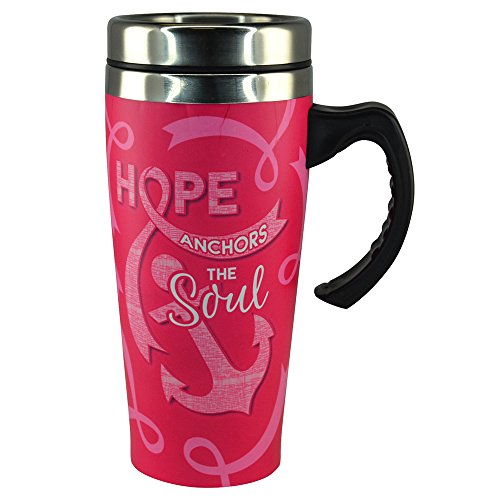 (Pink Breast Cancer Awareness 16 oz. Stainless Steel Thermal Printed Coffee Mug - Hope Anchors the Soul)