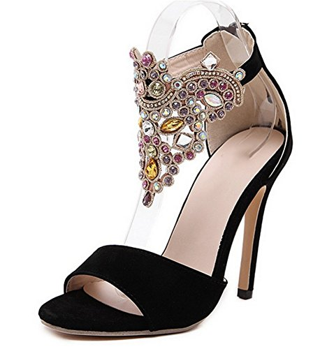 Rhinestones Black Color Nvxie 42 High Grande Heels Mujer De Huecas 35 Verano Toe Zapatos Sandalias Open q0Zaw0p4r