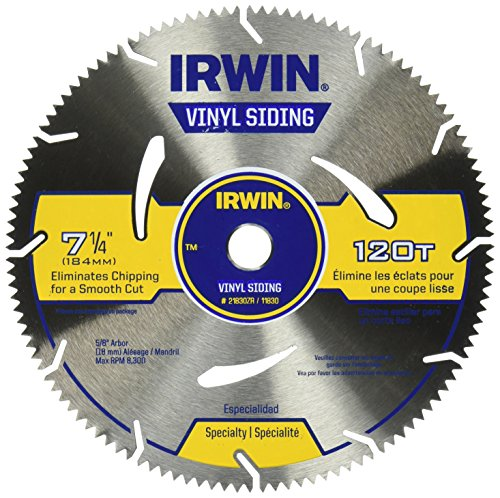 IRWIN Tools MARATHON Vinyl Siding Circular Saw Blade, 7 1/4-inch, 120T (Chop Vinyl)