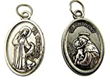 Silver Tone Saint Francis with St Anthony Pet Medal, 1 Inch