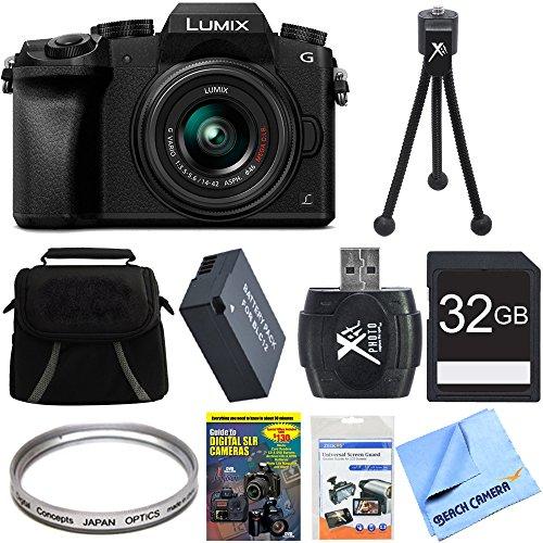Panasonic LUMIX G7 4K UHD DSLM Camera Bundle includes Camera, 14-42mm Lens, 64mm UV Filter, Gadget Bag, Training DVD, 32GB SD Card & Reader, Battery, Mini Tripod, Screen Protectors & Microfiber Cloth by Beach Camera